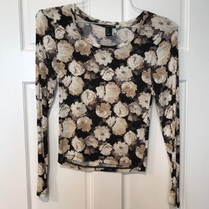 Tops - Forever 21 M Black & Cream Floral Top